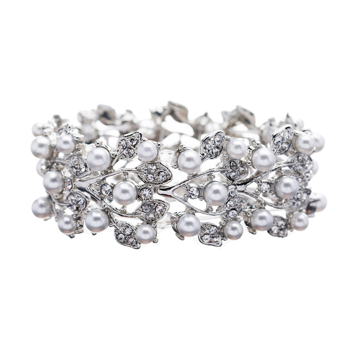 Bridal Wedding Jewelry Crystal Rhinestone Pearl Leaf Stretch Bracelet Silver