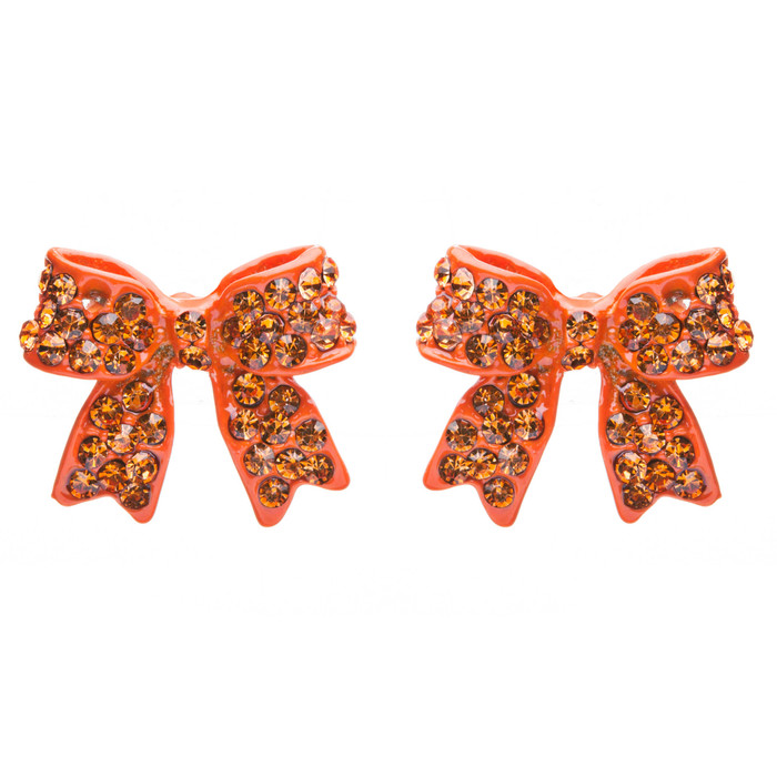 Fashion Crystal Pave Bow Ribbon Stud Earrings Orange