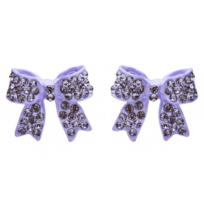 Fashion Crystal Pave Bow Ribbon Stud Earrings Purple