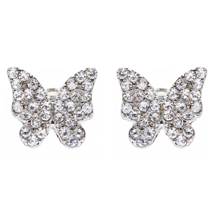 Fashion Crystal Pave Butterfly Stud Earrings Clear