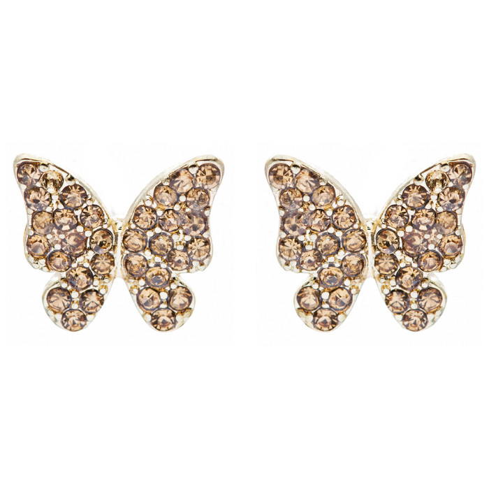 Fashion Crystal Pave Butterfly Stud Earrings Gold