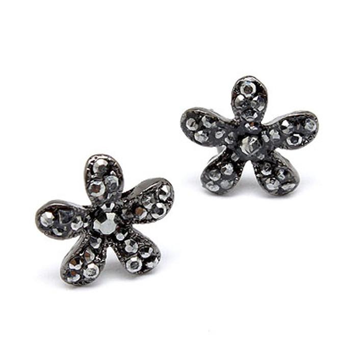 Flower Rhinestone Crystal Fashion Stud Earrings Black