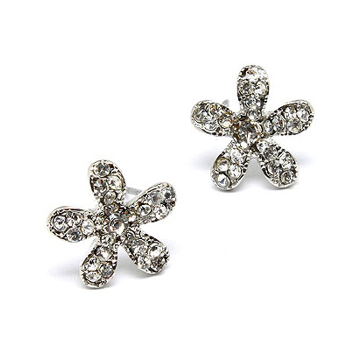 Flower Rhinestone Crystal Fashion Stud Earrings Silver