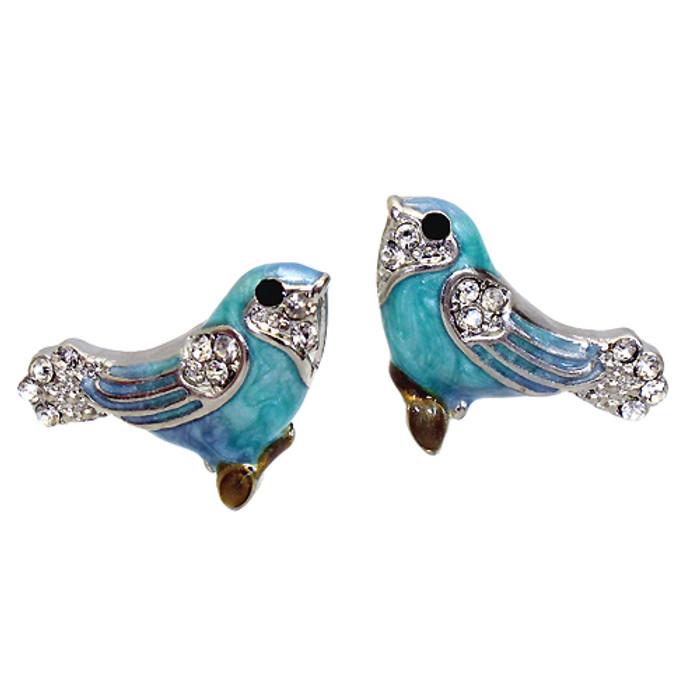Crystal Rhinestone Enamel Stud Bird Earrings Blue