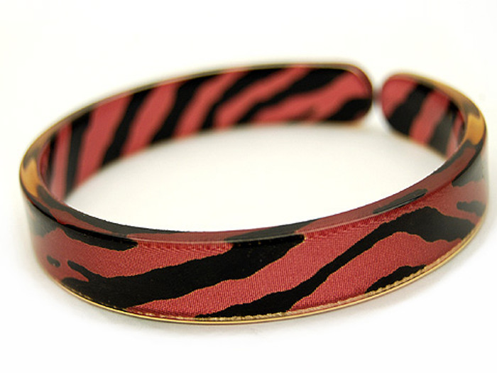 Lucite Bangle Cuff Animal Print Zebra 1/2 Inch Wide Red