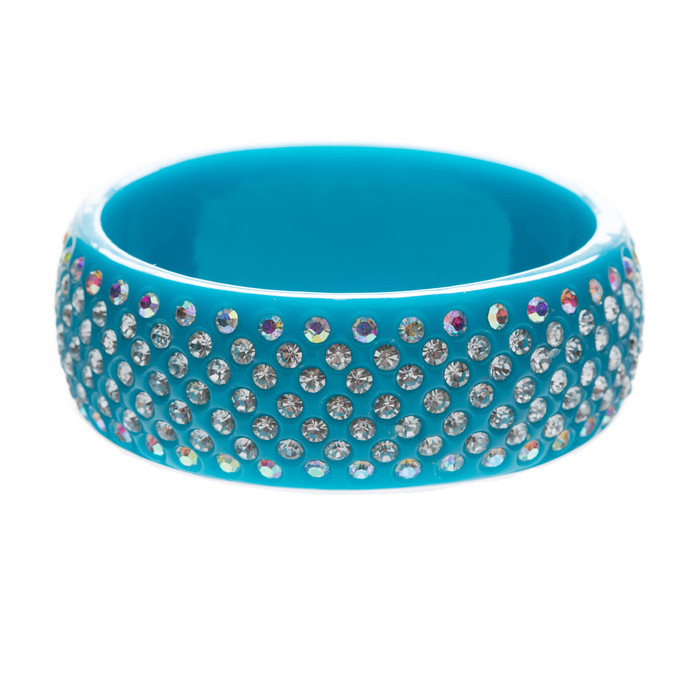 Stunning Sparkle Crystal Rhinestone Studs Design Wide Fashion Bangle Blue