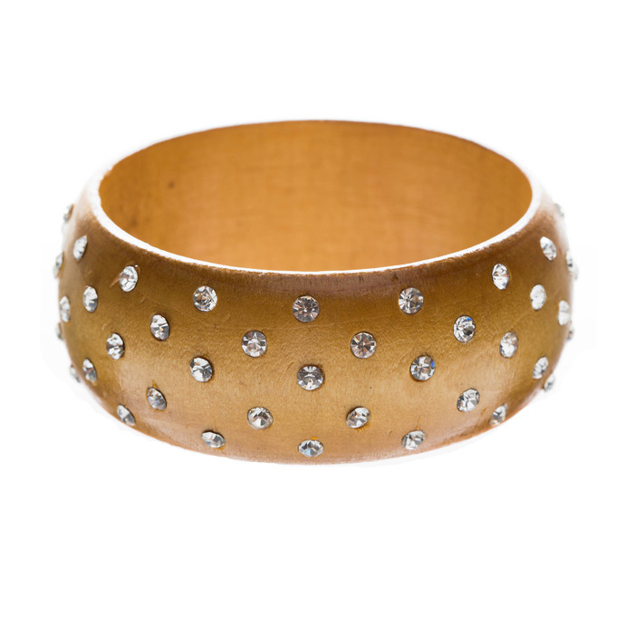 Chic Fashion Trendy Crystal Rhinestone Wide Wood Bangle Bracelet Light Brown