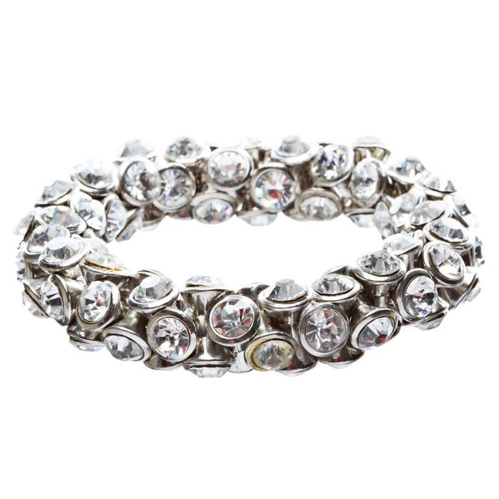 4-Sided Crystal Stretch Fashion Bracelet Silver Clear