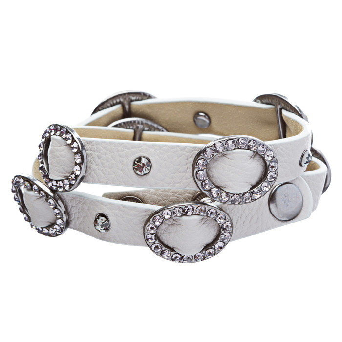 Chic Crystal Buckle Design Button Leatherette Fashion Wrap Bracelet Gray