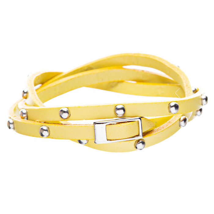 Yellow Silver Stud Italian Calf Leather Wrap Bracelet