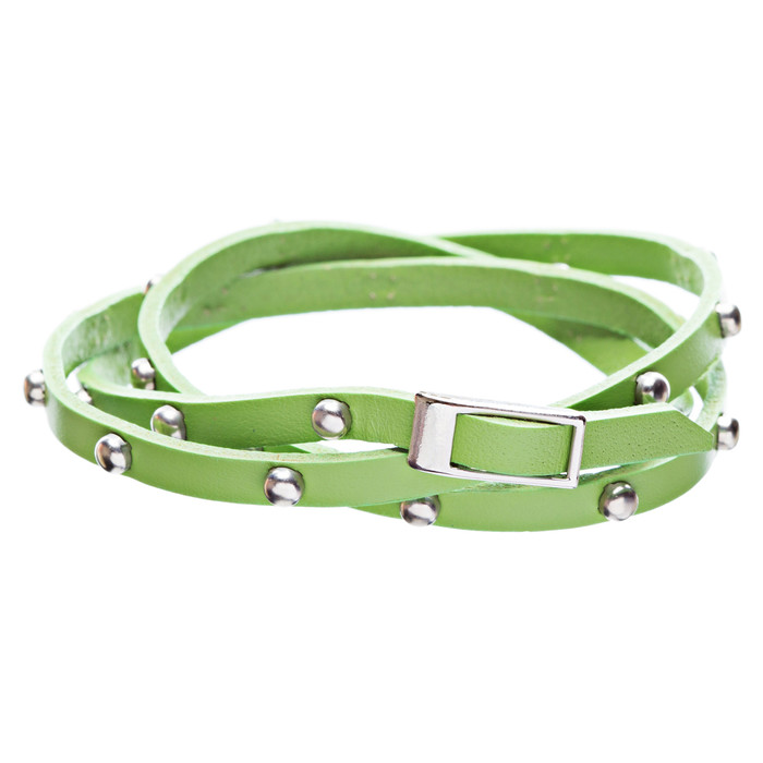 Green Silver Stud Italian Calf Leather Wrap Bracelet