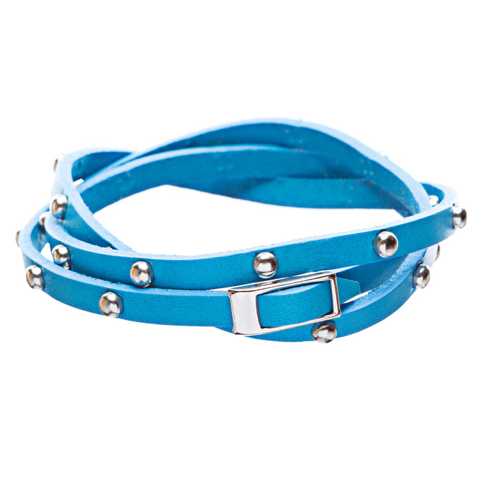 Silver Studded Italian Calf Leather Wrap Bracelet Ocean Blue