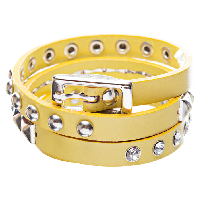 Yellow 3-Effect Stud Italian Calf Leather Wrap Bracelet