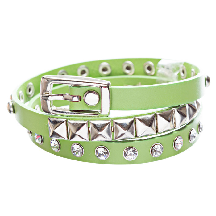 Green 3-Effect Stud Italian Calf Leather Wrap Bracelet