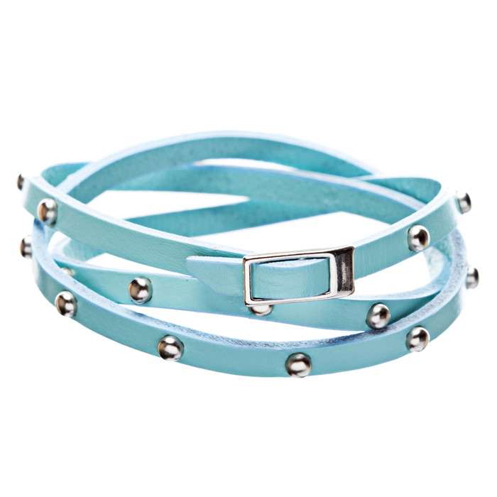 Blue Silver Studded Italian Calf Leather Wrap Bracelet