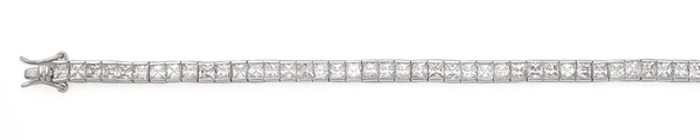 "3mm Princess Cut CZ 7"" Bracelet 925 Sterling Silver"