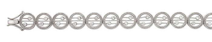 "Linked Cut Circle CZ 7"" Bracelet 925 Sterling Silver"