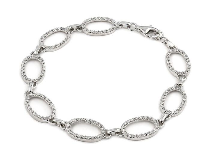 """Oval Shape CZ 7"""" Bracelet 925 Sterling Silver"""