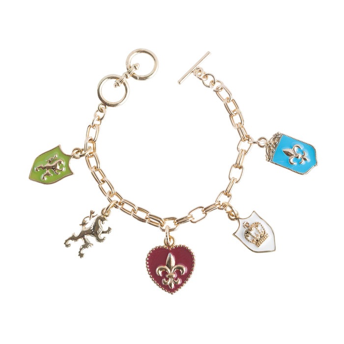Metal Link Bracelet Toggle Charm Heart 8 Inch Long