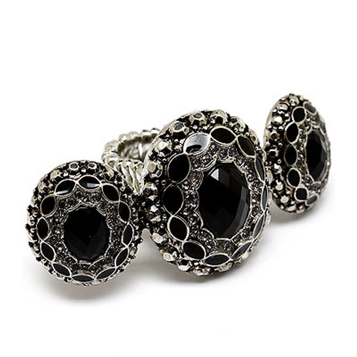 Vintage Antique Fashion Crystal Stretch Ring Black