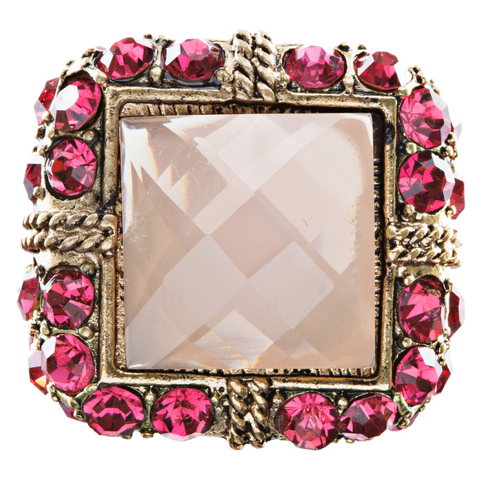 Royal Crystal Square Fashion Stretch Ring Gold Pink