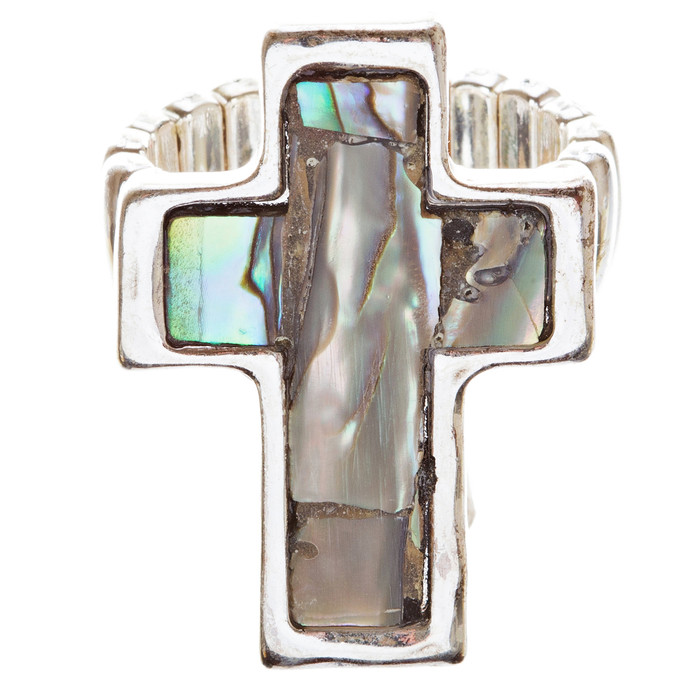 Abalone Cross Stretch Adjustable Ring Green Black