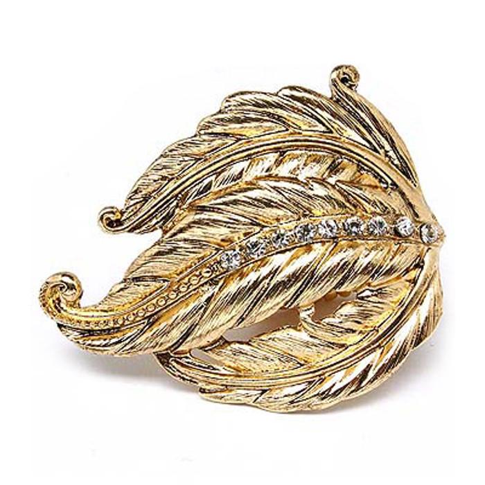 Leaf Design Nature Crystal Fashion Stretch Ring Gold