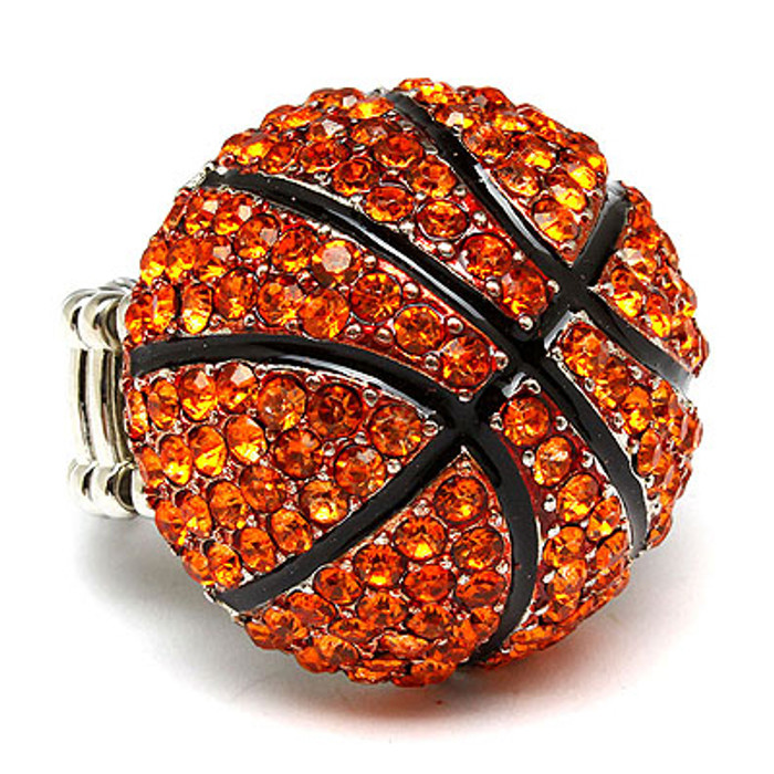 Sport Basketball Crystal Rhinestone Stretch Ring Orange