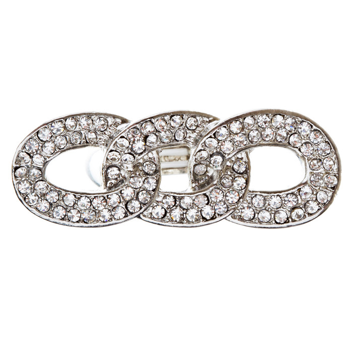 Chain Trio Link Crystal Pave Stretch Ring Silver