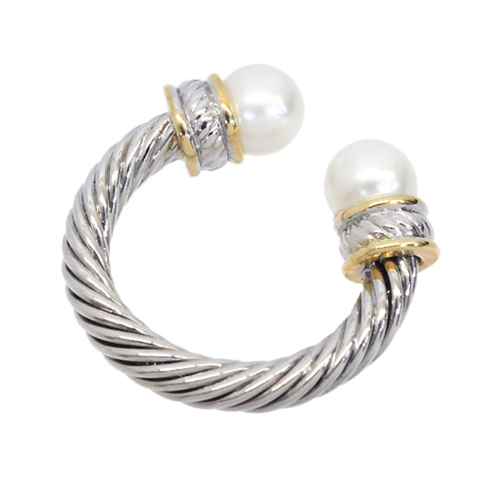 Due Tone Pearl End Cable Fashion Ring Gold Silver