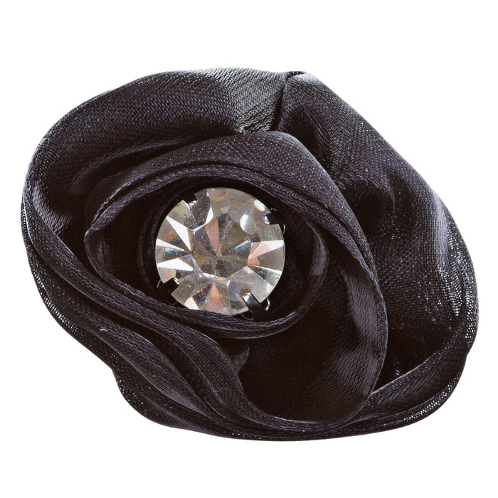 Organdy Fabric Floral Rose Adjustable 1 Ring Black