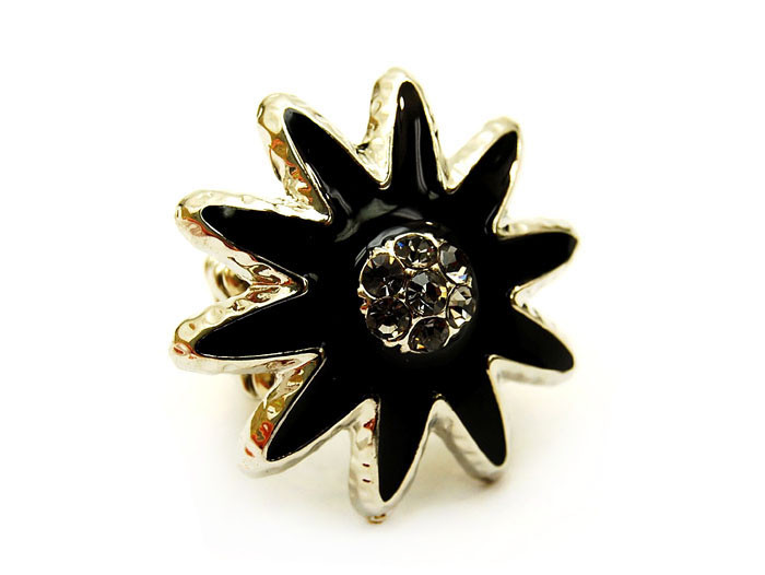 Sunburst Chunky Stretch Adjustable Fashion 1 Ring Black