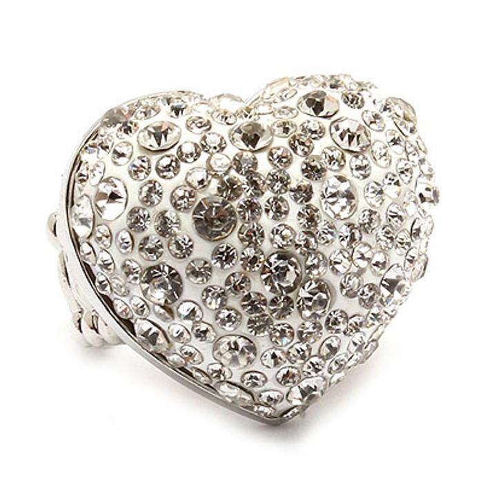 Bubbly Crystal Rhinestone Heart Stretch Adjustable Ring Valentine Silver Clear