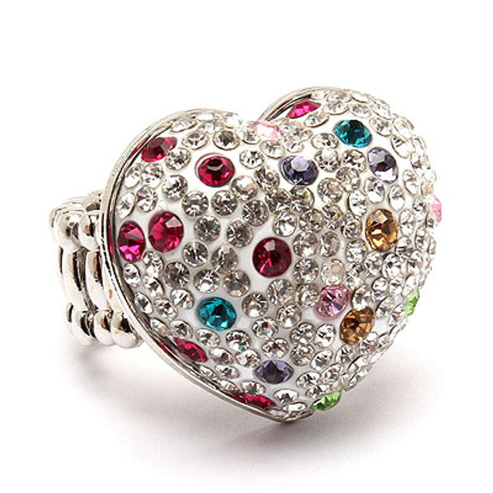 Bubbly Crystal Rhinestone Heart Stretch Adjustable Ring Valentine White Multi