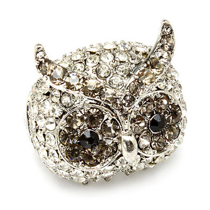 Owl Animal Crystal Rhinestone Stretch Ring Silver Clear