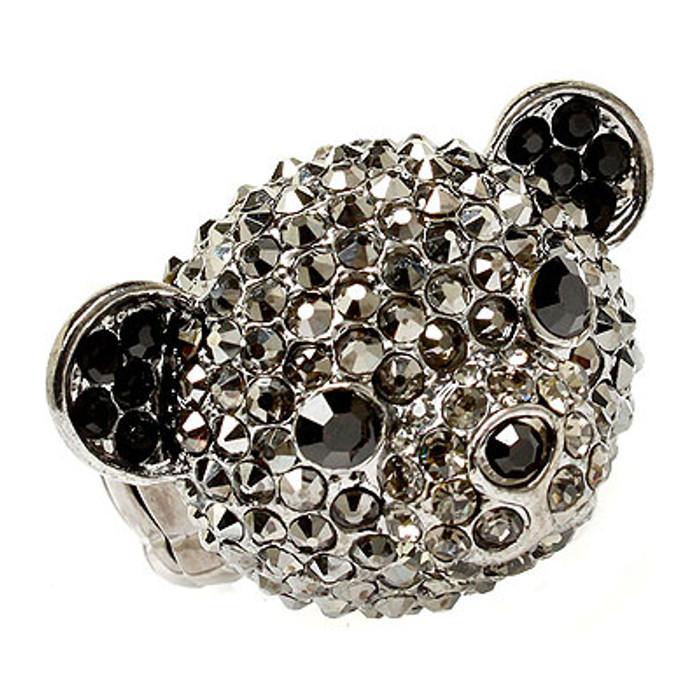 Bear Head Crystal Animal Stretch Adjustable Fashion Ring Hematite Black