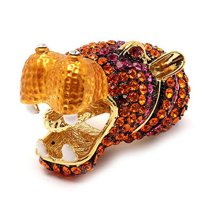 Hippopotamus Hippo Crystal Rhinestone Gold Orange Stretch Adjustable Animal Ring