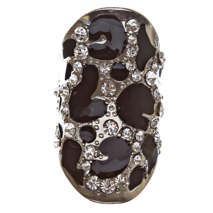 Animal Print Crystal Black Enamel Silver Tone Leopard Stretch Adjustable Ring