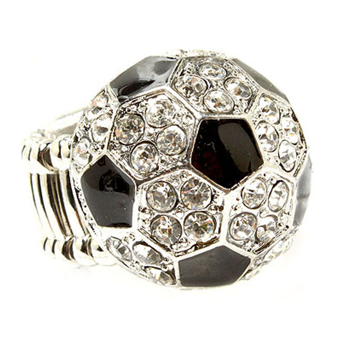 Sport Soccer Ball Crystal Rhinestone 20mm Stretch Adjustable Ring Silver Clear