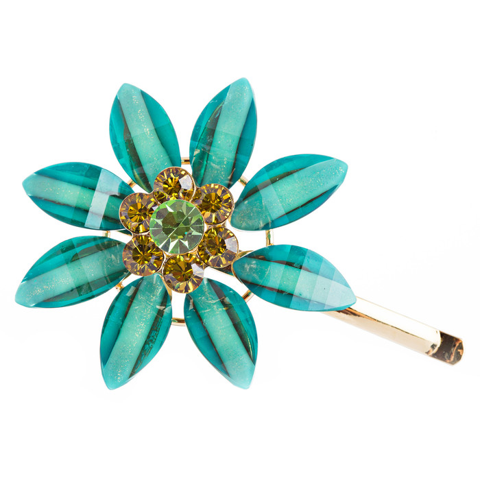 H016 Austrian Crystal Hair Claw Clip Jewelry Blue Green