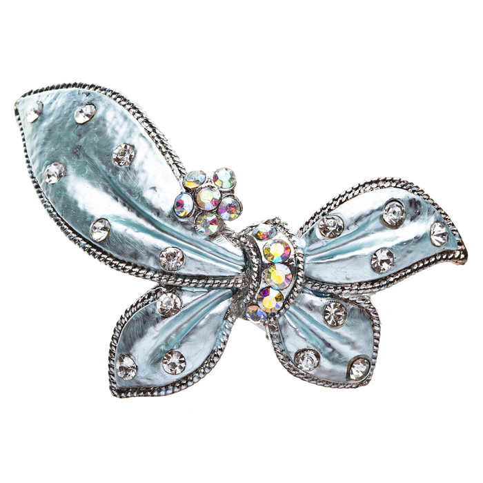 Austrian Crystal Hair Clips Barrette Butterfly Blue