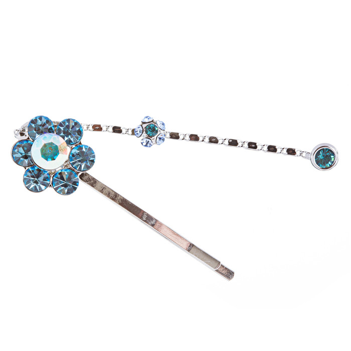 Austrian Crystal Hair Clips Beautiful Floral Blue