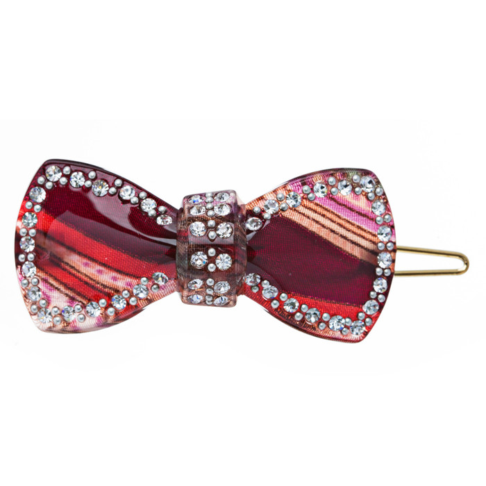 Woman Fashion Hair Clip Floral Ribbon Red NEW 2x1, lead compliant