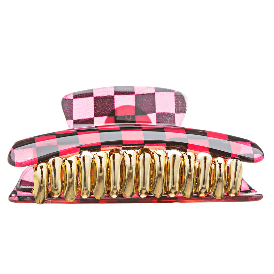 Woman Fashion Hair Claw Clip Lucite Checker Red NEW
