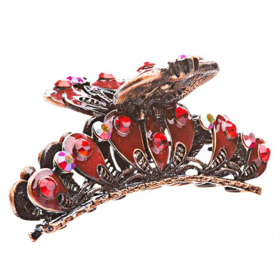 Austrian Crystal Rhinestone Fashion Jewerly Ruby Red Antique Bronze Hair Claw
