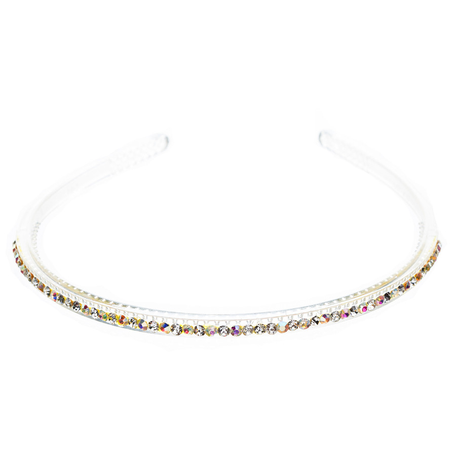 Fashion Sparkle Crystal Rhinestone Simple Linear Teeth Headband Clear