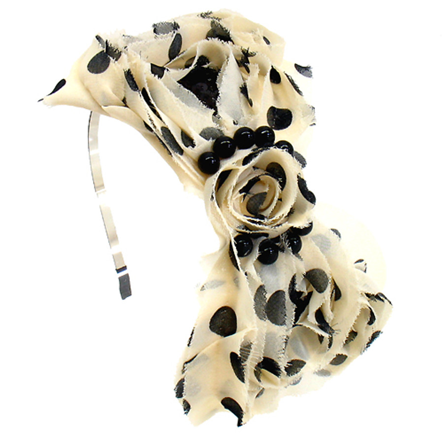 Sequin Beads Accented Polk Dots Big Bow Beige Headband