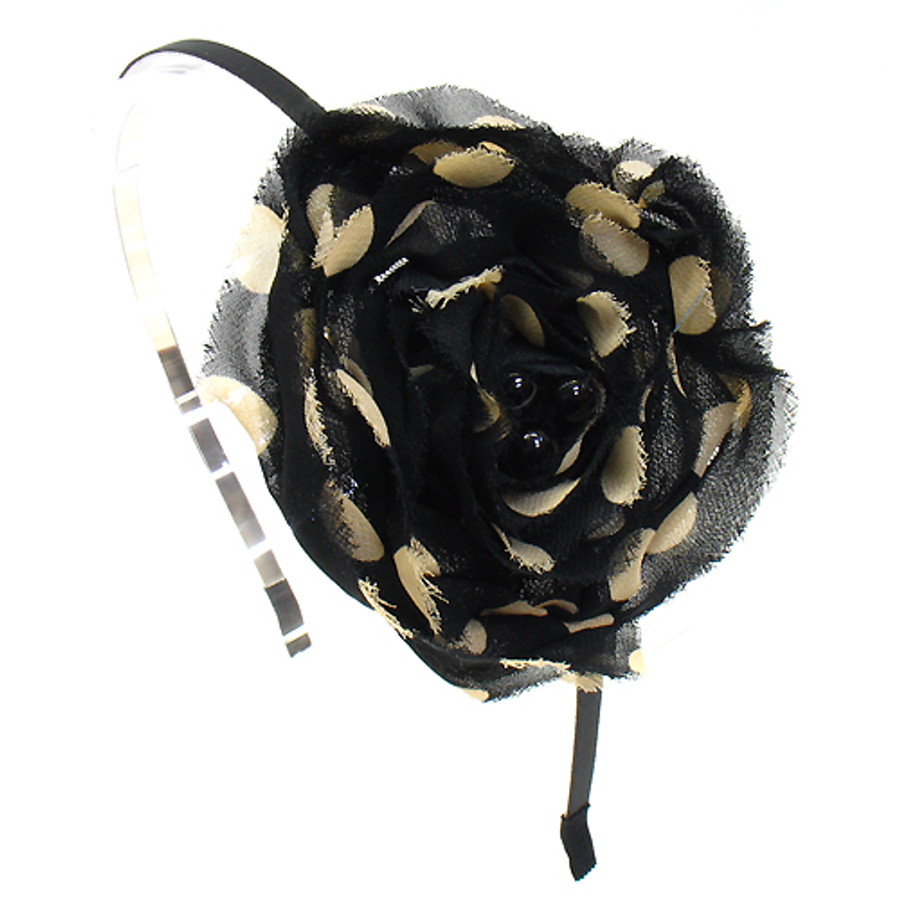 Sequin Beads Accented Polka Dot Flower Black Headband
