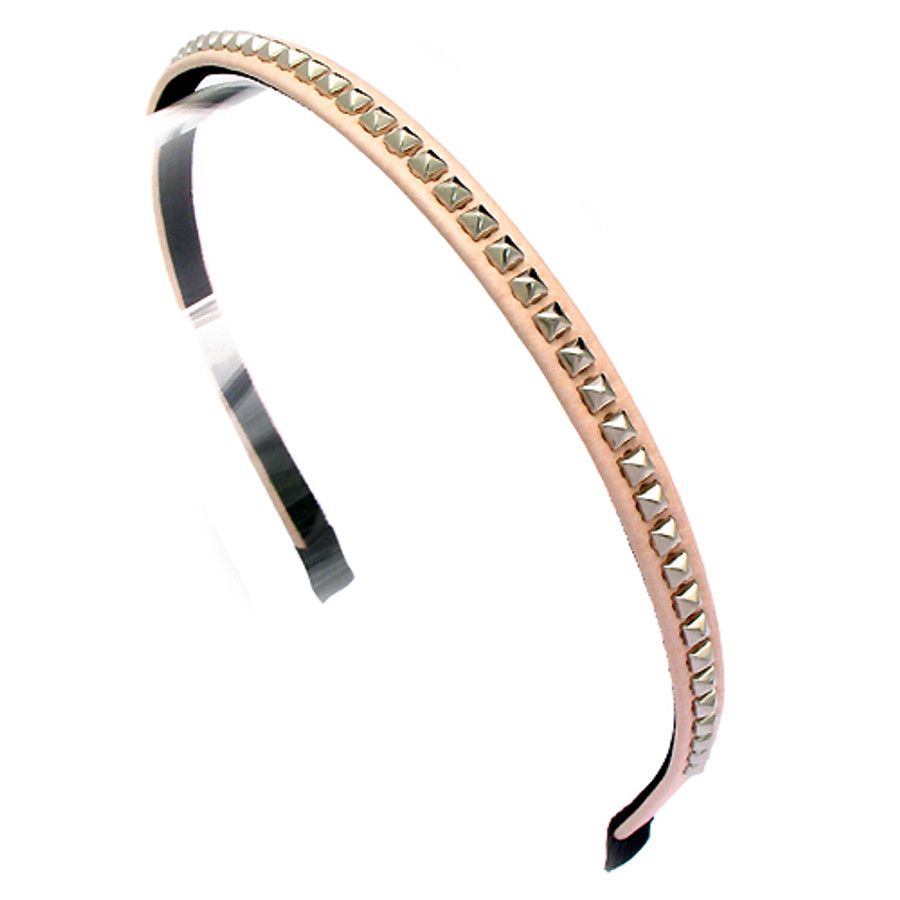 Square Silver Studded Leatherette Pink Headband