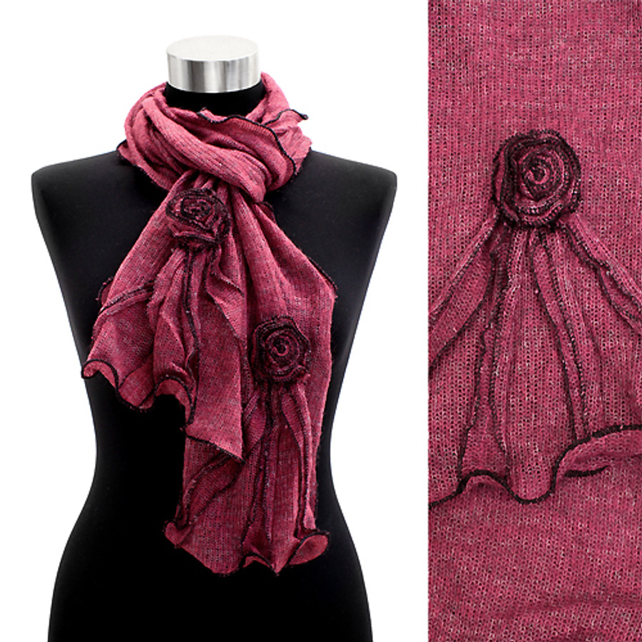 Corsage Decorated Ruffle Edged Scarf Purple Pink